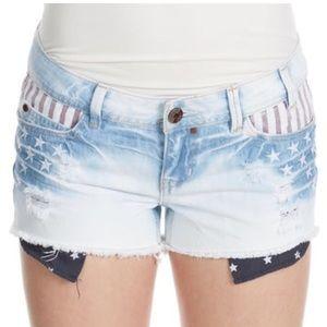 YMI cut off light wash denim American flag shorts